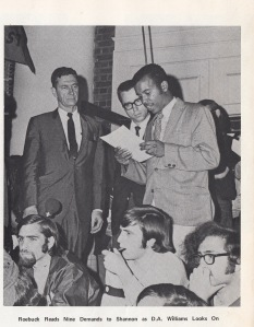James Roebuck, Student Council President and History Graduate Student, Presents Student Demands to President Edgar Shannon , May 1970